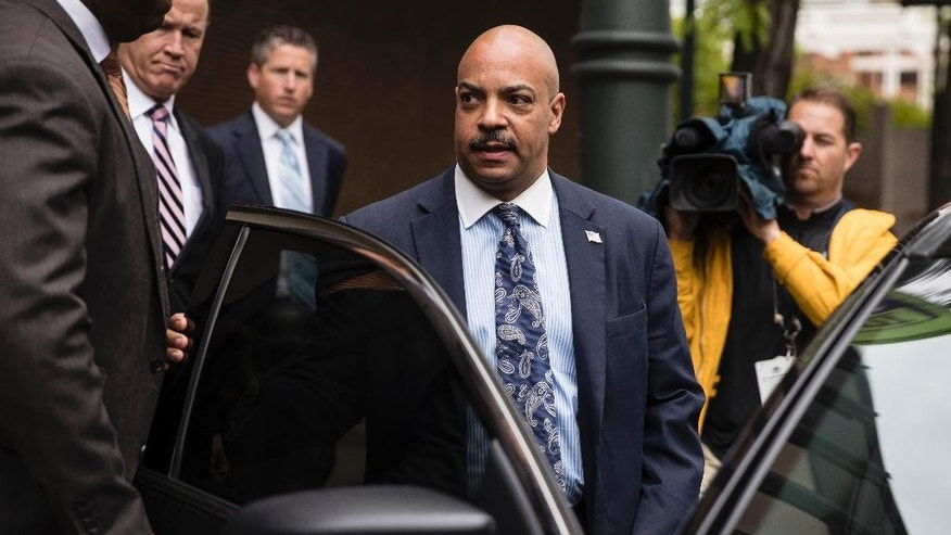 Philadelphia District Attorney Seth Williams departs after for his arraignment on additional charges in his bribery and extortion case at the at the federal courthouse in Philadelphia, Thursday, May 11, 2017. (AP Photo/Matt Rourke)