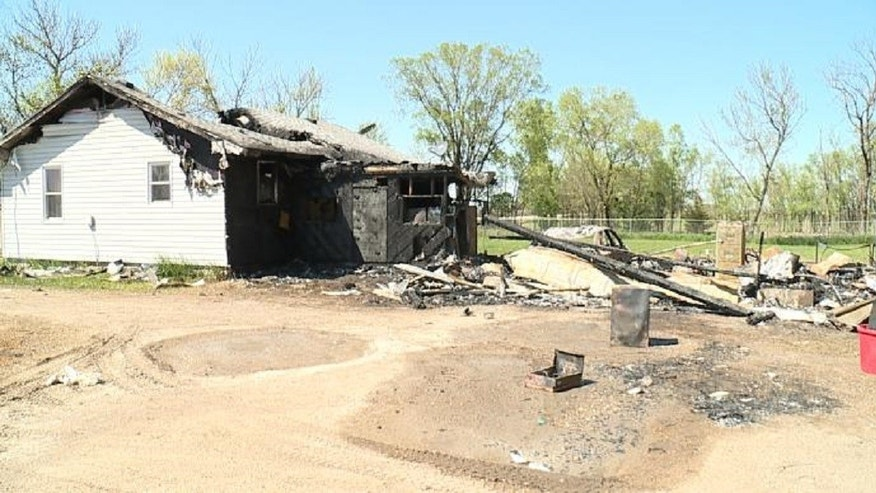 Chastidy Pletten and her pets weren't harmed, though the house near Bath, South Dakota, was extensively damaged.