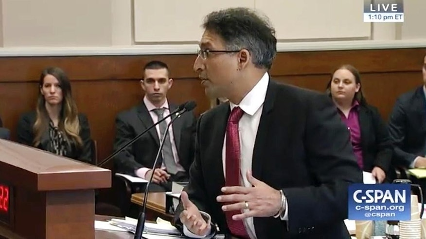 In this frame from C-SPAN video during the 9th Circuit Court of Appeals panel, Neal Katyal, Attorney for Hawaii, speaks in Seattle, Monday, May 15, 2017. The 9th Circuit panel is hearing arguments over Hawaii's lawsuit challenging the travel ban, which would suspend the nation's refugee program and temporarily bar new visas for citizens of Iran, Libya, Somalia, Sudan, Syria and Yemen. The judges will decide whether to uphold a Hawaii judge's decision in March that blocked the ban. (CSPAN via AP, POOL)