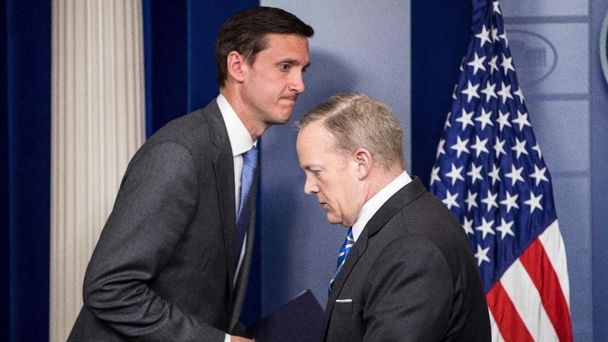 Homeland security adviser Tom Bossert takes the podium from White House press secretary Sean Spicer, to speak about the mass destruction offensive malware, Monday, May 15, 2017, during the daily press briefing at the White House in Washington. (AP Photo/Andrew Harnik)