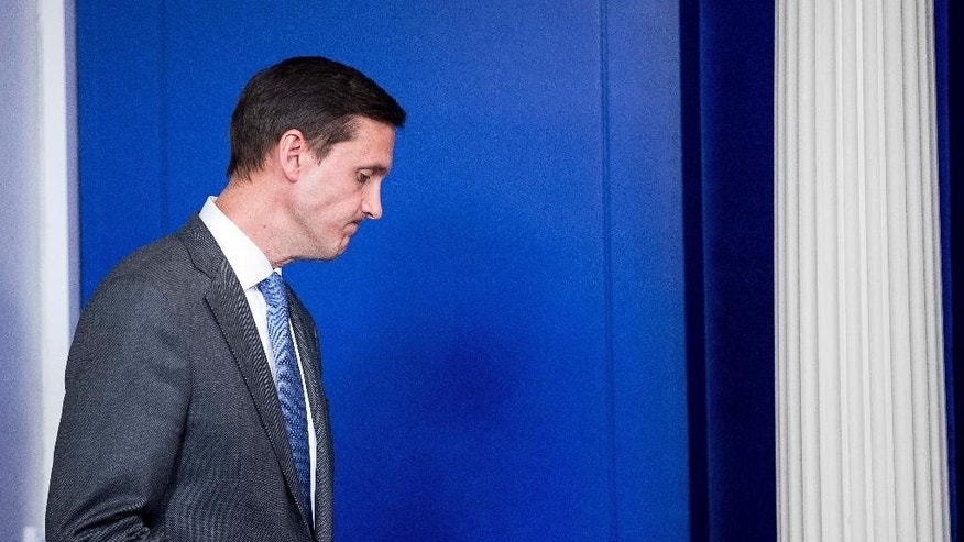 Homeland security adviser Tom Bossert waits to speak about the mass destruction offensive malware, Monday, May 15, 2017, during the daily press briefing at the White House in Washington. (AP Photo/Andrew Harnik)