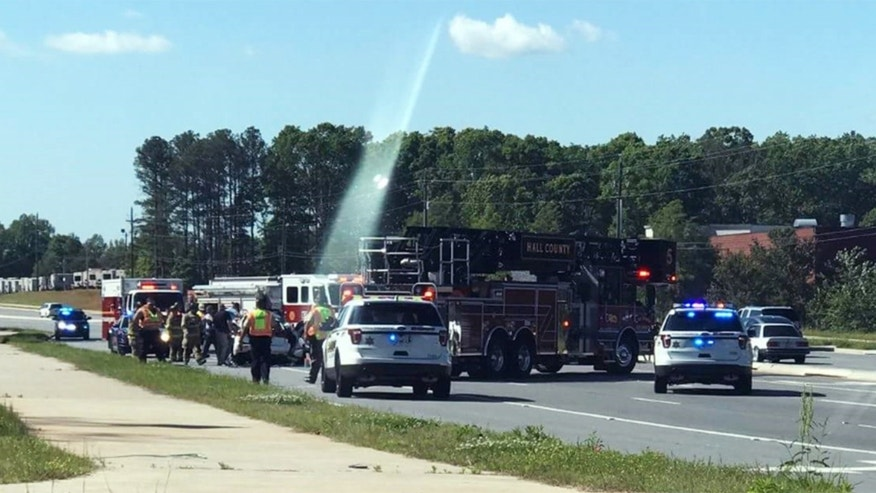 The photo showed the site of a crash in Gainesville, Georgia.