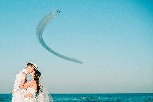 Blue Angels Flyover Captured in Florida Couple's Wedding Photos