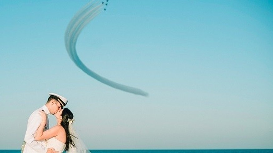 The Blue Angels flew over Rachel and Chandler Mills' wedding in Florida on Sunday.