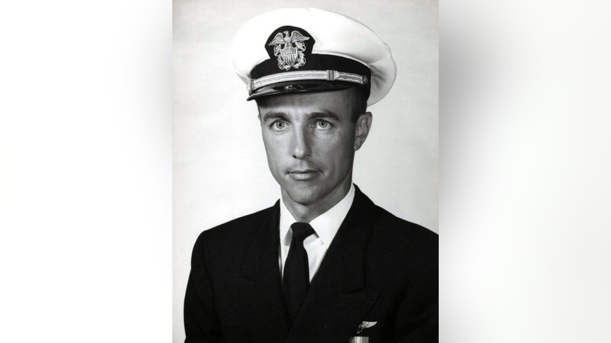 Photo of U.S. Navy shows Lt. Commander Frederick P. Crosby in his official Navy portrait. Daughter Deborah Crosby has worked for more than half a century on getting her father's remains recovered from Vietnam after his Navy plane was shot down there in 1965. (U.S. Navy via The Associated Press)