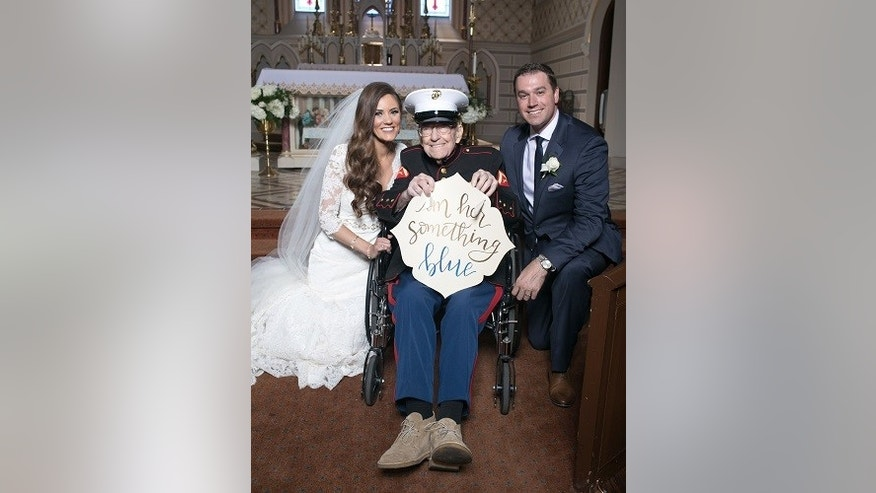 "U.S. Marine Corps veteran Bill Lee Eblen, 92, was able to fulfill his goal of being the ""something blue"" at his niece's wedding in Missouri."