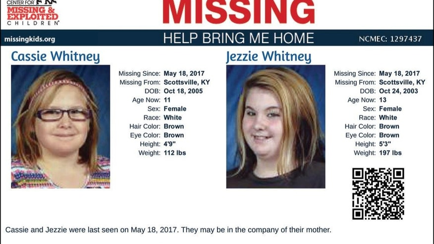 Detectives said Cassie and Jessie Whitney were taken by their mother after their father's death.