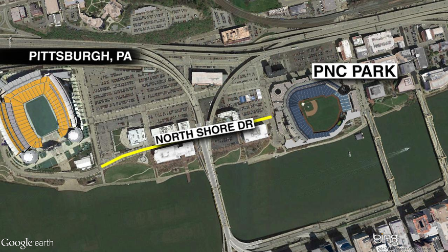 Pittsburgh law enforcement says the suspect struck cars on N. Shore Drive near PNC Park.