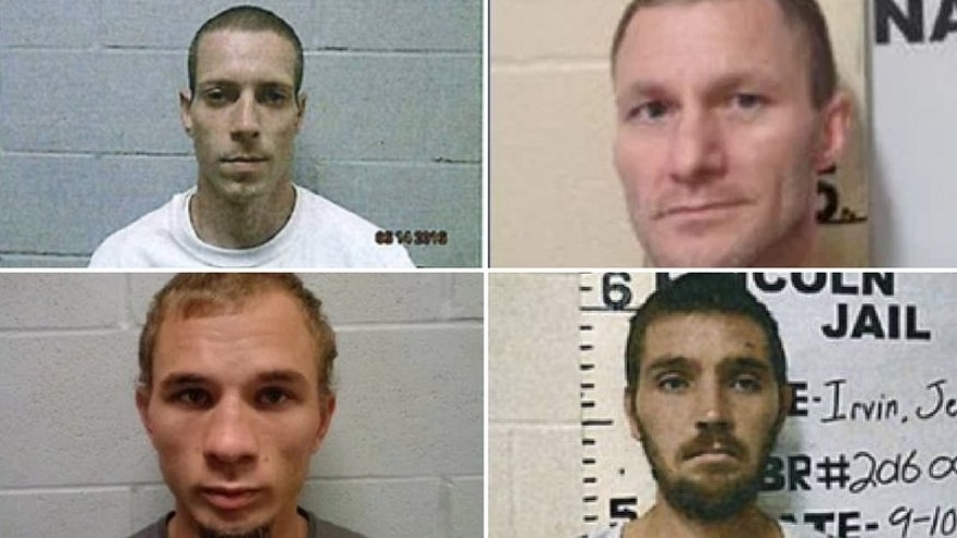 Trey Goodnight (top left), Sonny Baker (top right), Brian Moody (bottom left), and Jeremy Irvin escaped Lincoln County Jail Monday morning, the sheriff's office said. (Lincoln County Sheriff's Office)