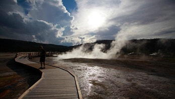 Steam rises from geysers and thermal features in the Biscuit Basin in Yellowstone National Park, Wyoming, June 23, 2011. REUTERS/Jim Urquhart (UNITED STATES) - RTR2O7SL