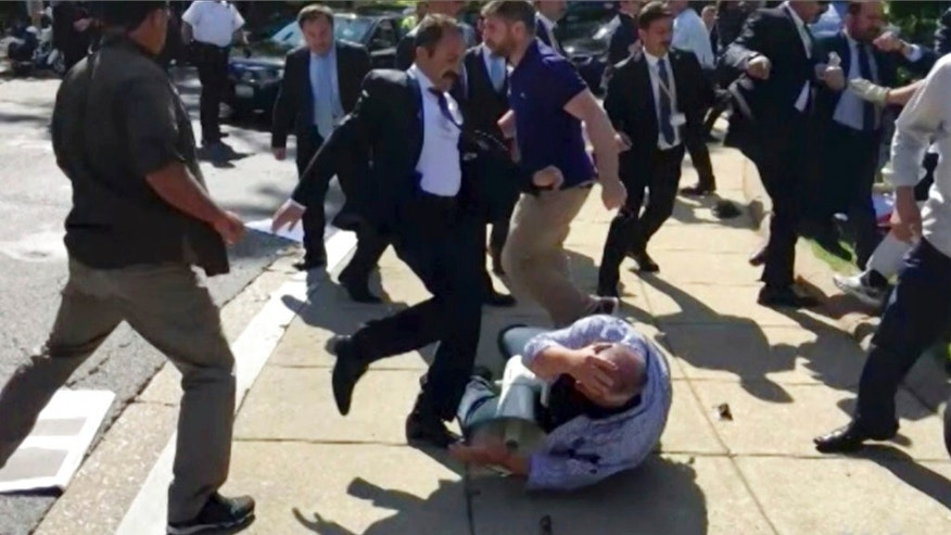 Two detained over brawl during Erdoğan's U.S. visit