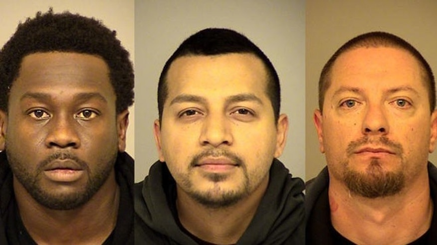 Mugs shots for Rahim Leblanc, 30, (l) Carlos Chavez, 28, (c) and Joseph Valenzuela, 38, (r).