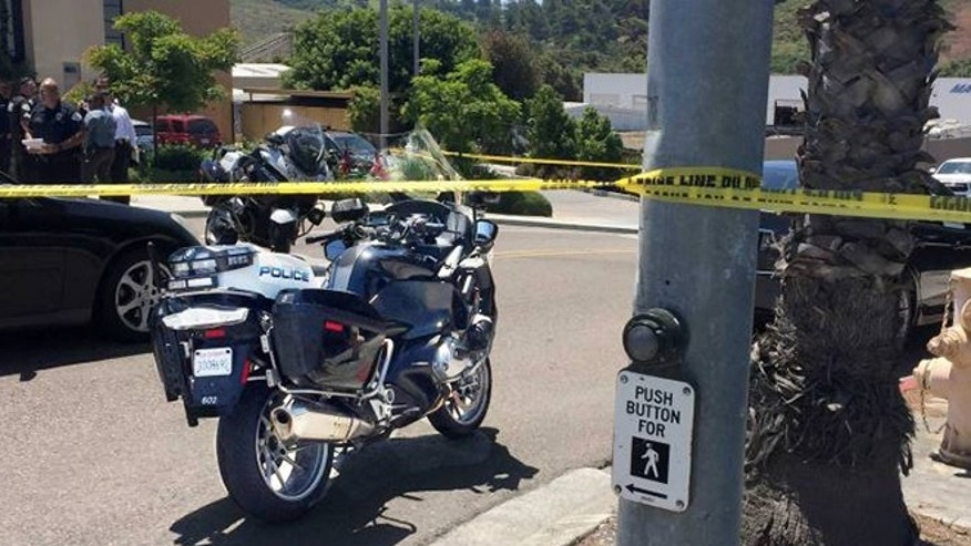 A witness says a motorcycle patrolman was run down by a driver on purpose in California.