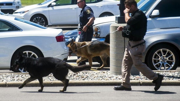 Police dogs search cars in a parking lot at Bishop International Airport, Wednesday morning, June 21, 2017, in Flint, Mich. Officials evacuated the airport Wednesday, where a witness said he saw an officer bleeding from his neck and a knife nearby on the ground. Authorities say the injured officer's condition is improving. (Jake May/The Flint Journal-MLive.com via AP)