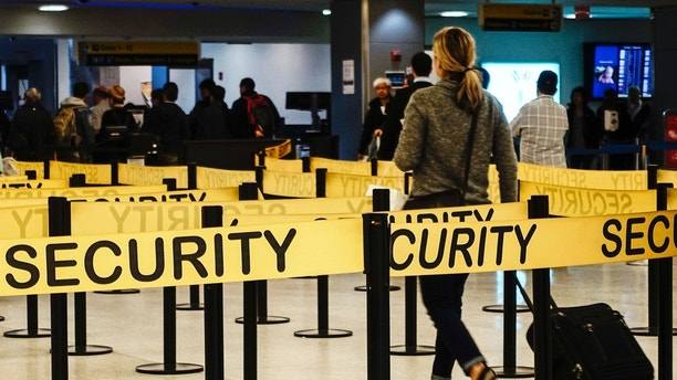 Passengers make their way in a security checkpoint at the International JFK airport in New York October 11, 2014. Medical teams at New York's JFK airport, armed with Ebola questionnaires and temperature guns, began screening travelers from three West African countries on Saturday as U.S. health authorities stepped up efforts to stop the spread of the virus. REUTERS/Eduardo Munoz (UNITED STATES - Tags: TRANSPORT HEALTH TRAVEL) - RTR49SOX