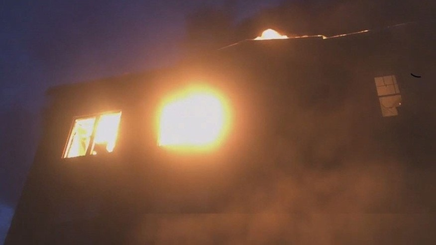 A screenshot of a video taken by SC Fire and EMS of an apartment fire that displaced 200 people.