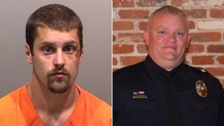 Connor Michael Dougherty (L) is facing charges including second-degree assault of a police officer after a physical altercation with Corporal Michael Nesbitt (R). (Edgewater Police Department)