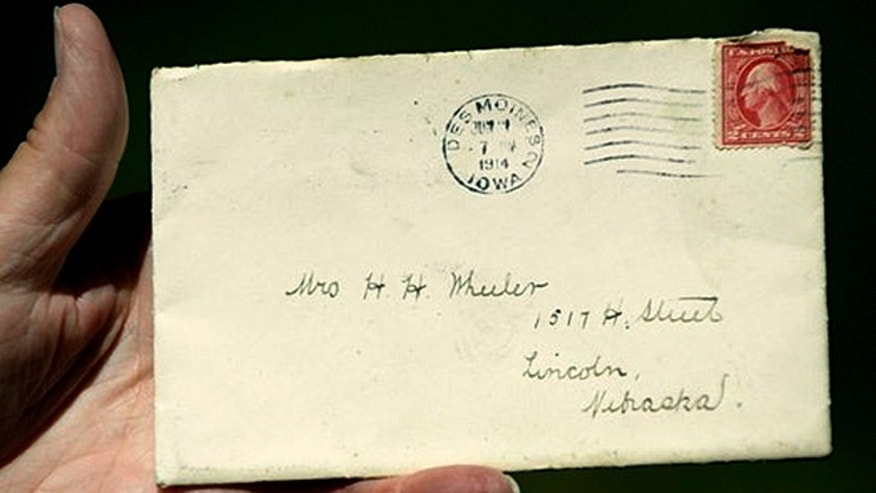 Postal worker Larry Schulz found this letter, addressed to Mrs. H.H. Wheeler and postmarked in Iowa in 1914 while sorting mail for his route.