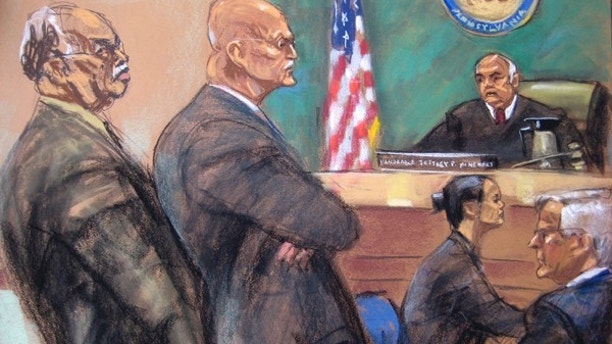 Dr. Kermit Gosnell, 72, (L) is shown in this courtroom artist sketch during his sentencing at Philadelphia Common Pleas Court in Philadelphia, Pennsylvania May 15, 2013. Gosnell was sent to prison on Wednesday to serve three life terms without parole for murdering babies during late-term abortions and other crimes at his squalid clinic. Seen with Gosnell are his attorney Jack McMahon (2nd L), Judge Jeffrey P. Minehart (3rd L), an unidentified court reporter and prosecutor Edward Cameron (R).  REUTERS/Jane Rosenberg  (UNITED STATES - Tags: CRIME LAW) - RTXZNR6