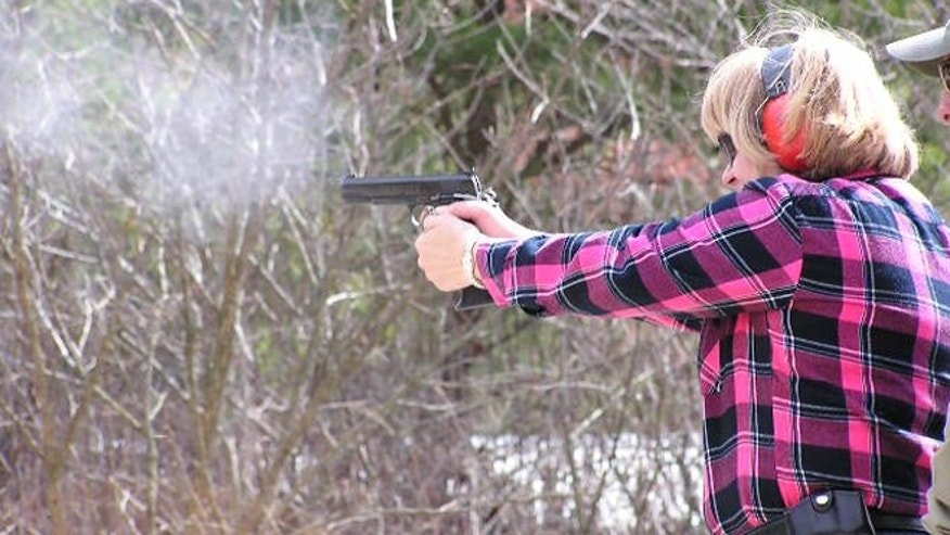 An unidentifed Ohio teacher participates in FASTER training. Nearly 40 school districts in the Buckeye state allow teachers who have the proper permits to carry guns in class. Other states, like Colorado are following suit.