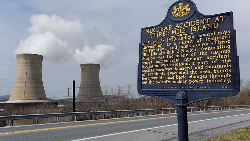 A sign marks the Three Mile Island nuclear power plant, where the U.S. suffered its most serious nuclear accident in 1979, in Middletown, Pennsylvania.