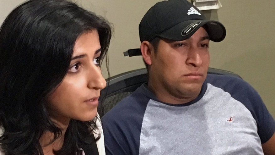 Attorney Saira Hussain, left, and her client, Pedro Figueroa-Zarceno, answer questions about a settlement with the city of San Francisco on Thursday,