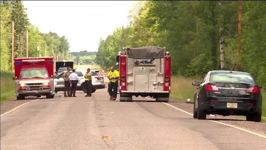 First responders and police at the scene of a sudden plane crash in Wisconsin that left 6 dead, including 2 elementary school workers. (Fox 6)