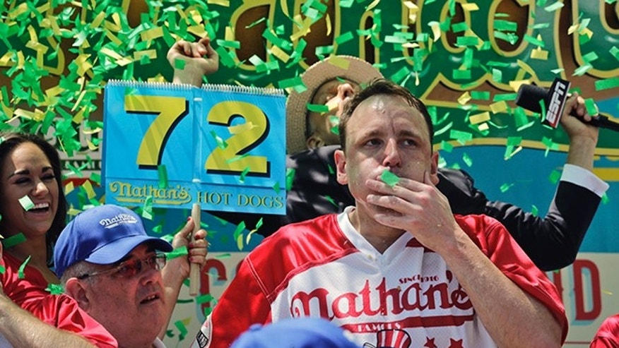 NJ educator 'extremely full' after Nathan's hot dog eating contest