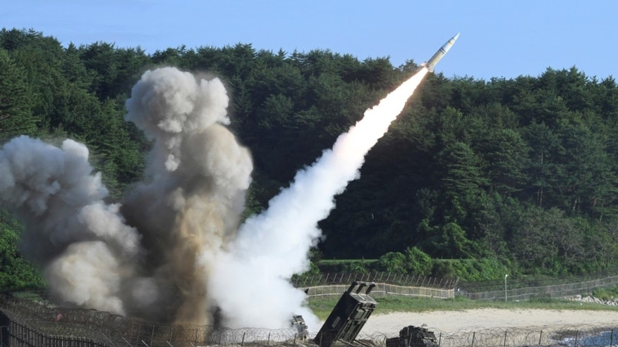 In this photo provided by South Korea Defense Ministry, a U.S. MGM-140 Army Tactical Missile is fired during the combined military exercise between the U.S. and South Korea against North Korea at an undisclosed location in South Korea, Wednesday, July 5, 2017. The U.S. will conduct a flight test of the Terminal High Altitude Area Defense (THAAD) this month.