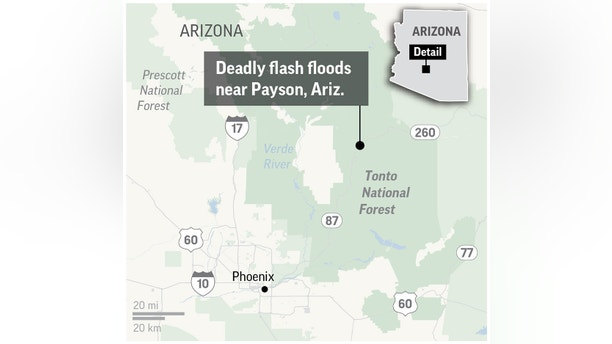 Graphic locates Payson, Ariz. where nearby flash floods in the Tonto National Forest took at least nine lives; 2c x 3 inches; 96.3 mm x 76 mm;