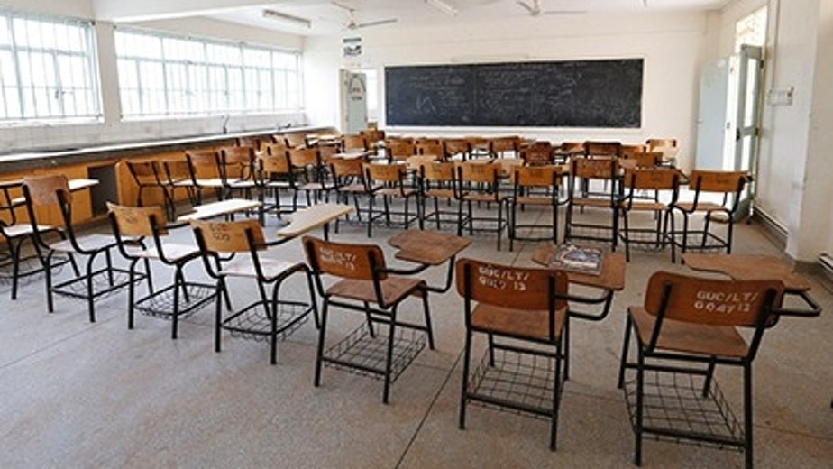 Chairs are seen arranged inside a lecture hall at the Garissa University College as students return to the campus in Kenya's northeast town of Garissa, January 11, 2016. The campus reopened today nine months after an attack by Somalia-based al-Qaeda linked al-Shabaab Islamist militants. REUTERS/Thomas Mukoya - RTX21TOH