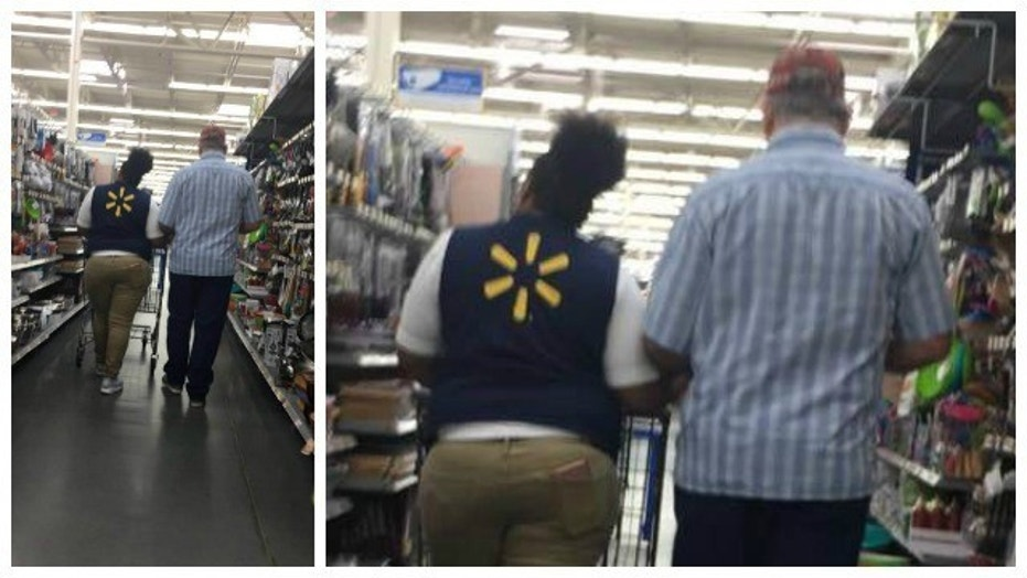 walmart employee helps blind man