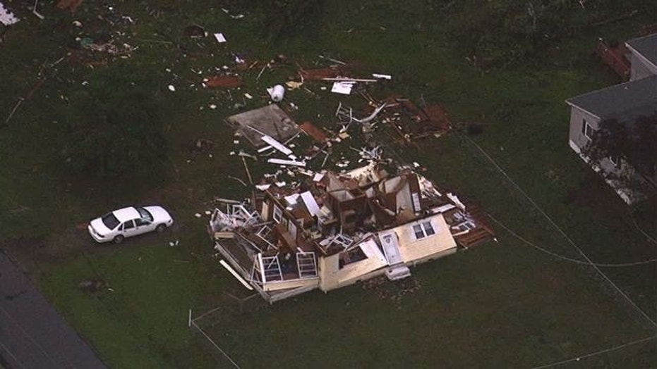 A possible tornado caused extensive damage on Kent Island.