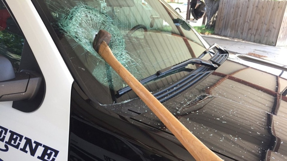 Jeassy Bobby Cruz is accused of using an ax to destroy police cruisers in Texas.