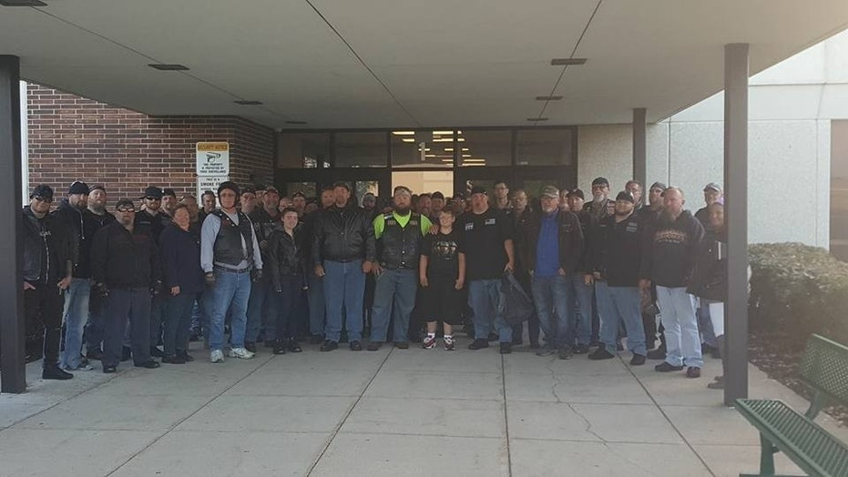 More than 50 bikers gave Phil Mick a ride to Dekalb Middle School in Indiana.