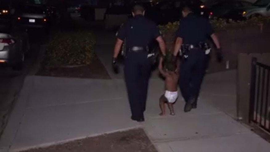 A toddler was found wandering alone through a San Diego neighborhood Wednesday morning.