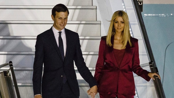 Ivanka Trump, right, and her husband Jared Kushner, senior advisor of President Donald Trump arrive to the military airport in Warsaw, Poland, Wednesday, July 5, 2017. President Donald Trump arrived in Poland ahead of an outdoor address in Warsaw on Thursday and energy talks with European leaders. (AP Photo)
