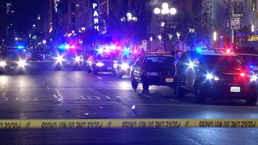 An off-duty police officer was hospitalized after he was shot in San Diego Monday morning. (FOX5 San Diego)