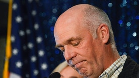 Greg Gianforte celebrates his win over Rob Quist for the open congressional seat at the Hilton Garden Inn, Thursday night, May 25, 2017, in Bozeman, Mont. The Republican multimillionaire Gianforte won Montana's only U.S. House seat on Thursday despite being charged a day earlier with assault after witnesses said he grabbed a reporter by the neck and threw him to the ground. After being declared the winner, Gianforte apologized both to Jacobs and to the Fox News crew for having to witness the attack. (Rachel Leathe/Bozeman Daily Chronicle via AP)