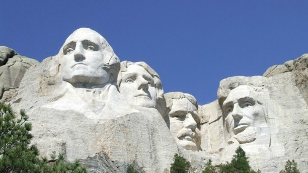 U.S. presidents George Washington, Thomas Jefferson, Theodore Roosevelt and Abraham Lincoln are sculpted on Mount Rushmore National Memorial in the Black Hills region of South Dakota, U.S. in this U.S. National Park Service photo taken on April 12, 2013.  Courtesy NPS/Handout via REUTERS   ATTENTION EDITORS - THIS IMAGE WAS PROVIDED BY A THIRD PARTY. EDITORIAL USE ONLY. - RTSZ9ZK