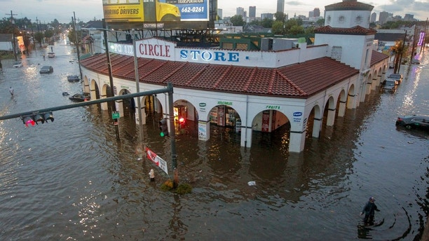 Food Store engulfed in floodwaters in New Orleans. With more rain in the forecast and city water pumps malfunctioning after weekend floods New Orleans&#x27 mayor is urging residents of some