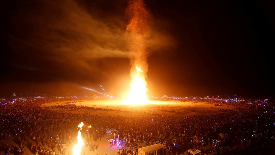 The Man is engulfed in flames at the Burning Man festival in Nevada.