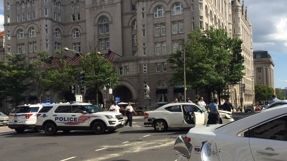 A police chase ended in a car crash near the Trump International Hotel in Washington, D.C., Sunday afternoon.