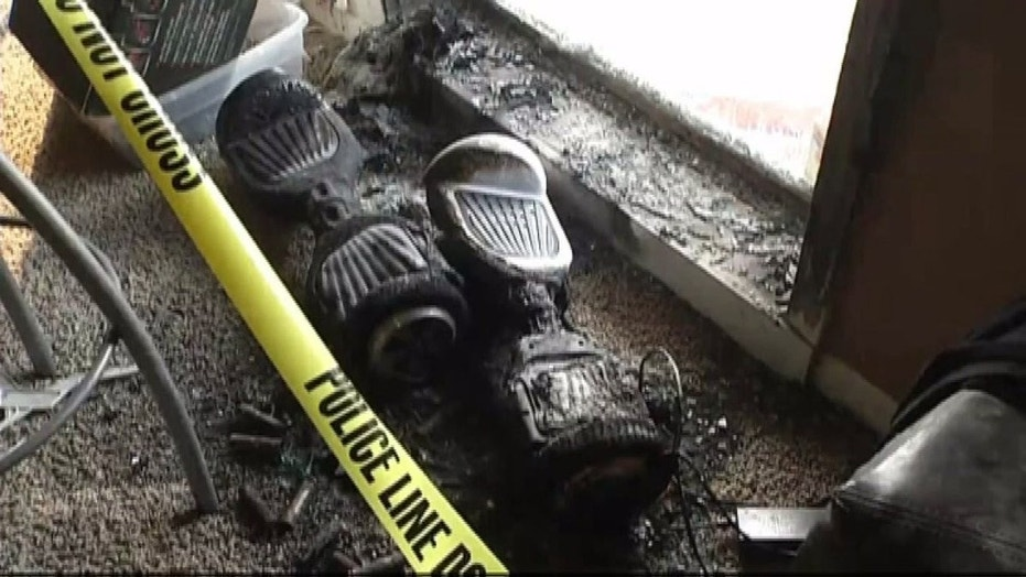 Two hoverboards reportedly erupted into flames while charging in a woman's basement.