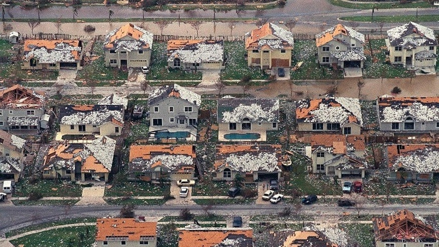The damage caused by Hurricane Andrew in a neighborhood between Homestead and Florida City, Fla. The storm left a record $25 billion in damage and its impact on South Florida was the most significant.
