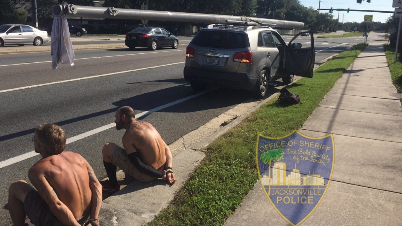 Tattooed, shirtless looters arrested for stealing power pole as police turn up the heat