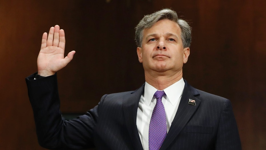 FBI Director Christopher Wray, who took office in August, is shown at his confirmation hearing, July 12, 2017.