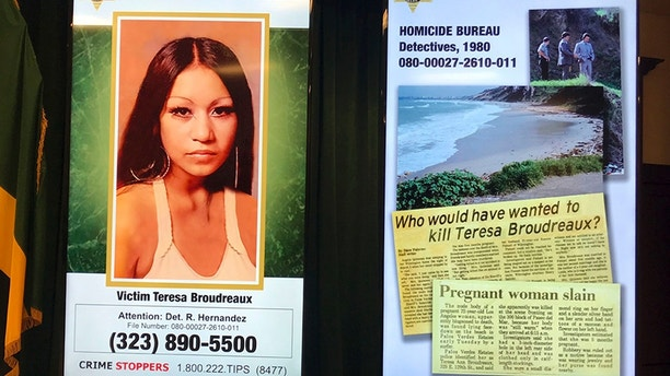 """Special Bulletin"" posters are seen as Los Angeles County Sheriff Jim McDonnell discusses the arrest of a man on suspicion of killing a pregnant woman whose nude body was found on a beach in 1980, at a news conference in downtown Los Angeles Friday, Sept. 29, 2017. McDonnell said detectives arrested 65-year-old Robert Yniguez outside of his home in the San Pedro area of Los Angeles Thursday. He is suspected of killing 20-year-old Teresa Boudreaux, seen at left, whose body was found on the shoreline of Malaga Cove Beach in Palos Verdes Estates in March, 1980. Sheriff's officials say Yniguez's DNA was linked to evidence that had been collected at the crime scene. (AP Photo/Michael Balsamo)"