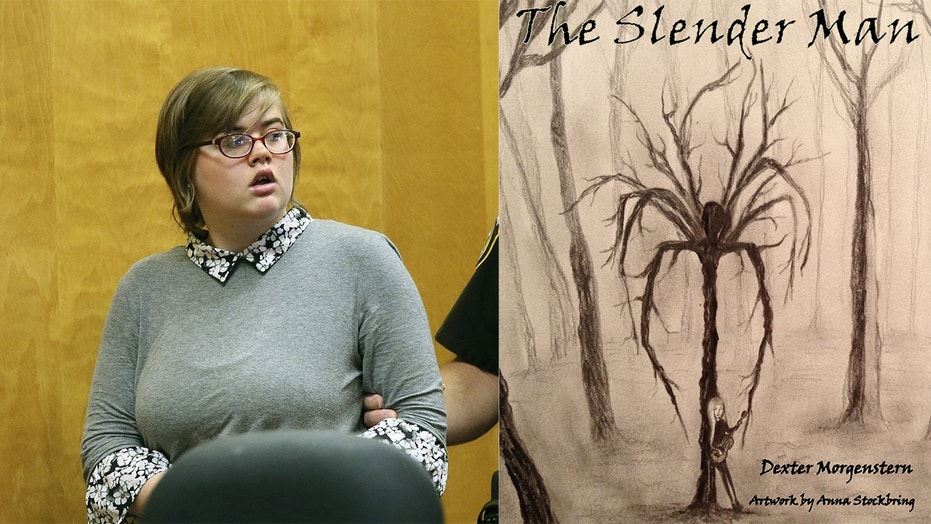 Morgan Geyser, left, agreed to a plea deal in an attack brought on by fictional character Slender Man, right.