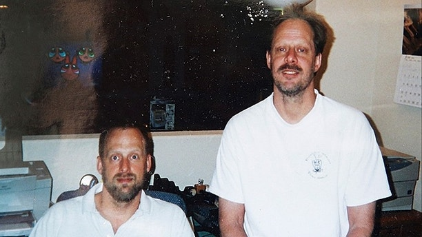 This undated photo provided by Eric Paddock shows him at left with his brother, Las Vegas gunman Stephen Paddock at right. Stephen Paddock opened fire on the Route 91 Harvest Festival on Sunday, Oct. 1, 2017, killing dozens and wounding hundreds. (Courtesy of Eric Paddock via AP)